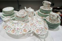 Quantity of Minton 'Haddon Hall' pattern porcelain part dinner and tea service Condition Report