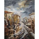 Meluta Sarbu (20th century school) Oil on canvas Street scene with figures under an umbrella,