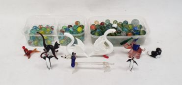 Large quantity of glass marblesand various animal ornaments