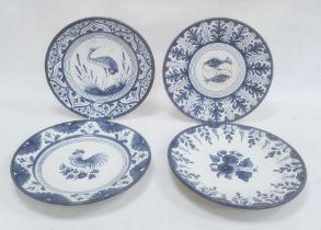 Four modern Spanish blue and white dishesdecorated with birds, fish and flowers, within stylised