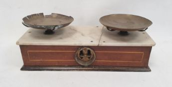 Various iron balance arm scales with weights, pan,hooks, etc (1 box)