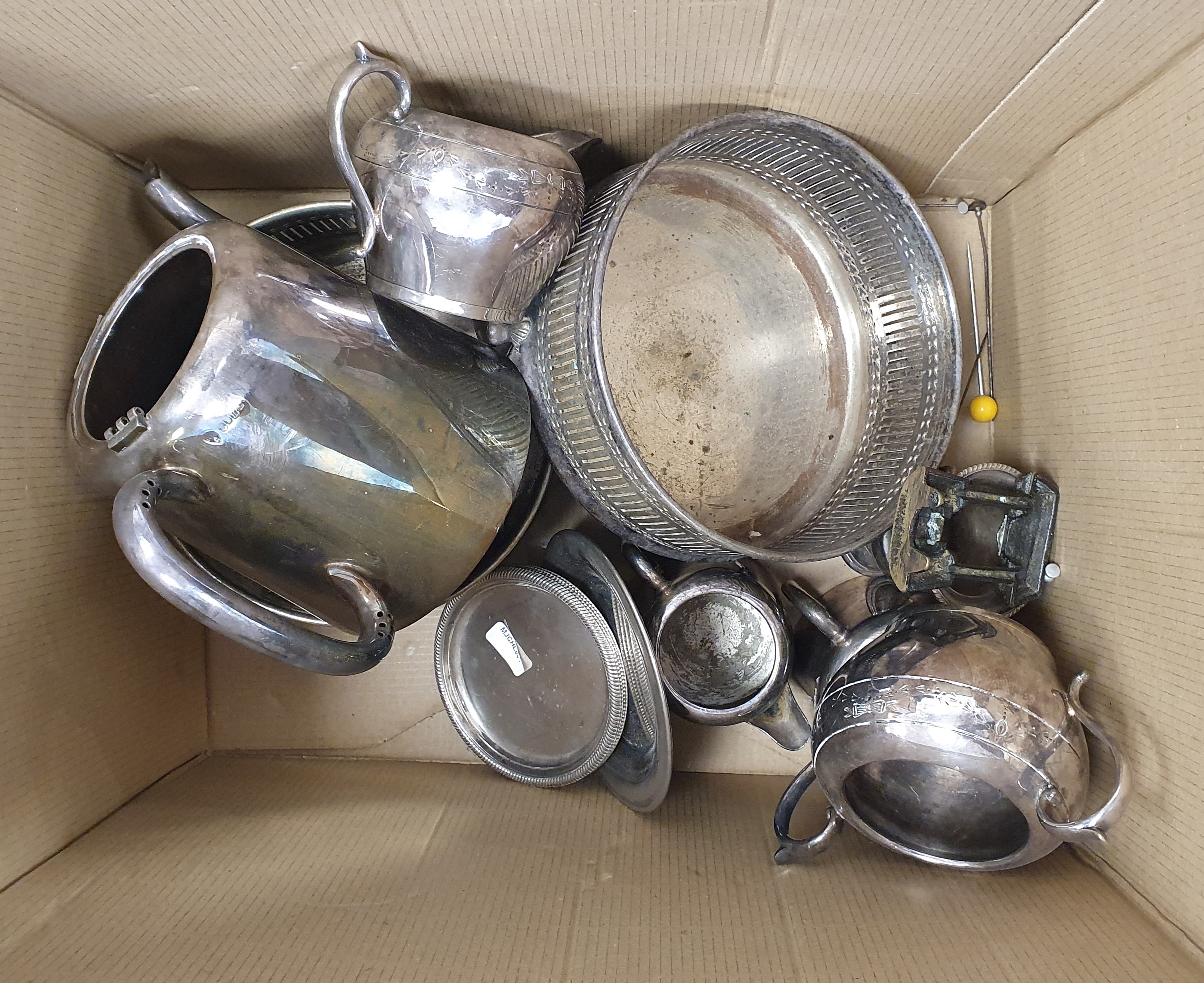 Large quantity of assorted plated ware, teapots, sifters, flatware, etc (2 boxes) - Image 2 of 3