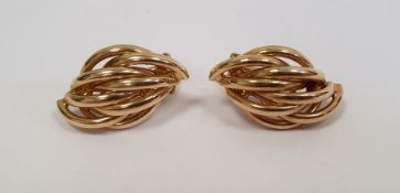 Pair of modern 14ct gold earrings, lozenge shaped of crossover design, 6.5g approx.