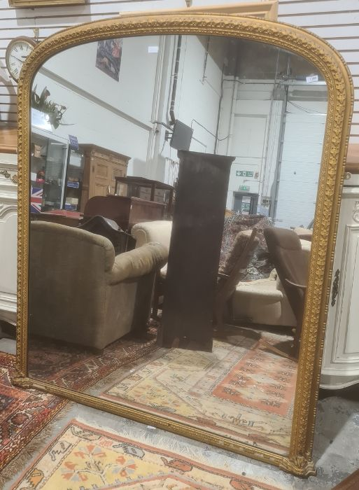 C Nosotti, late Victorian large arch-topped overmantel mirror in moulded frame, with plaque to