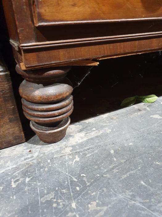 19th century mahogany linen press, two flame mahogany doors enclosing linen press drawers, base - Image 17 of 21