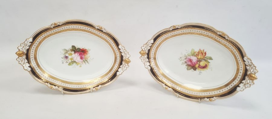 Pair of Royal Crown Derby dishes each of shaped oval form with pierced acorn and oak leaf handles