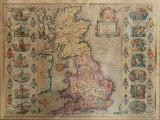 """After John Speede Coloured map """"Britain as it Was Devided in the Tyme of the Englifhe, Saxons"""