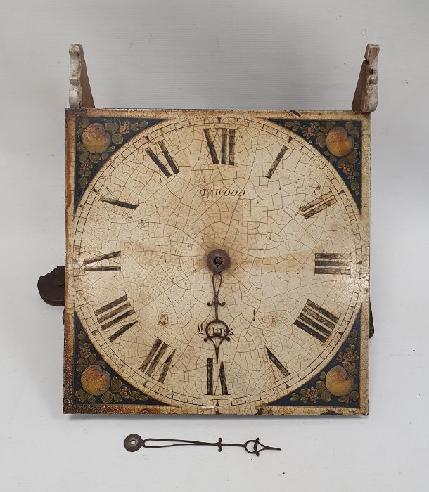 """30-hour longcase movement as a bracket clock, a painted 11"""" square dial decorated with fruit and - Image 2 of 3"""