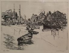 """Lionel Barrymore (1878-1954) Etching """"San Pedro"""", signed to the margin, 21cm x 29cm"""