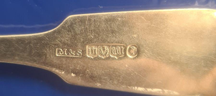 Set of four Victorian silver table forks, monogrammed to handle 'Fac et Spera', Edinburgh, maker - Image 3 of 4