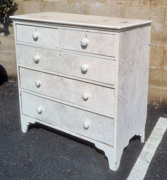 White painted chest of two short over three long drawers, on bracket feet, 108cm x 108cm