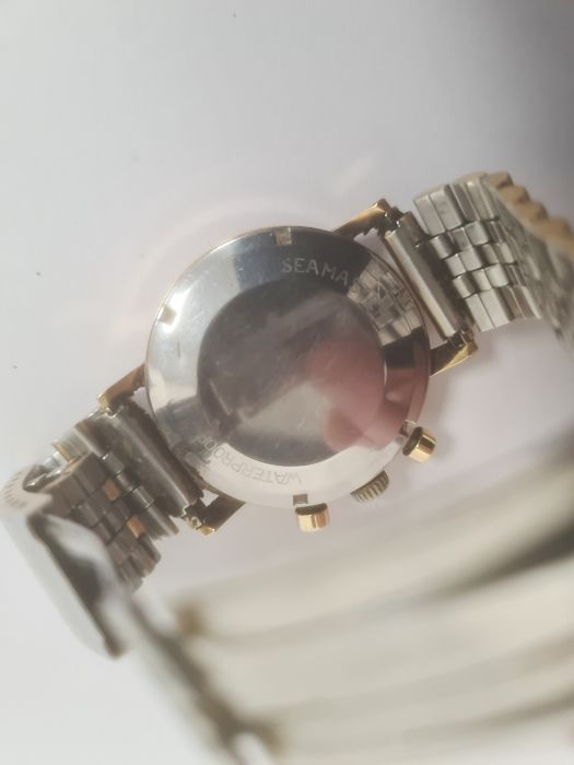 Omega Seamaster gentleman's gold-plated chronograph bracelet watch, the silvered dial with baton - Image 3 of 8