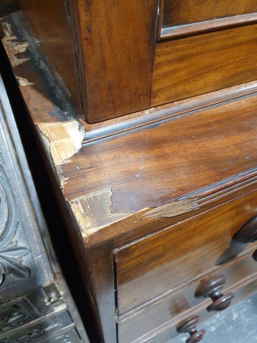 19th century mahogany linen press, two flame mahogany doors enclosing linen press drawers, base - Image 5 of 21