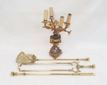 Ormolu four-branch table lampwith floral branches above a central urn with applied ormolu garlands,
