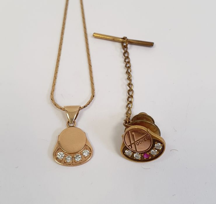 9ct -10ct gold pendant set with four small diamonds on a 9ct gold chain, 4g approxand a 10ct gold