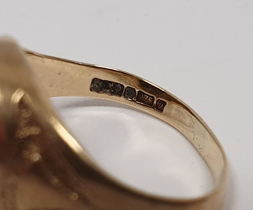 9ct gold and four stone sapphire ringwith diamond points, finger size M and a 9ct gold ringset - Image 7 of 7