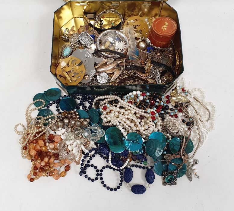 Quantity of costume jewellery, brooches, clip-on earrings, beaded necklaces etc (2 boxes)