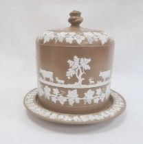 Substantial Victorian stoneware cheese dome, the dome of circular form decorated with a continuous
