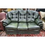 Modern green ground leather three-seater sofa by Thomas Lloyd