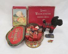 Wendy Boston soft toy Scottie dog, three sets of children's picture blocksand two diecast toys