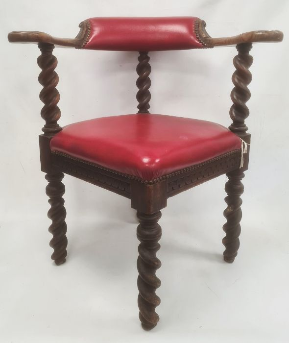 Oak framed chair, red leather backrest and seat, barleytwist supports
