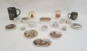 Four circular Victorian pot lids, one depicting the Albert Memorial, another of a group picnicking