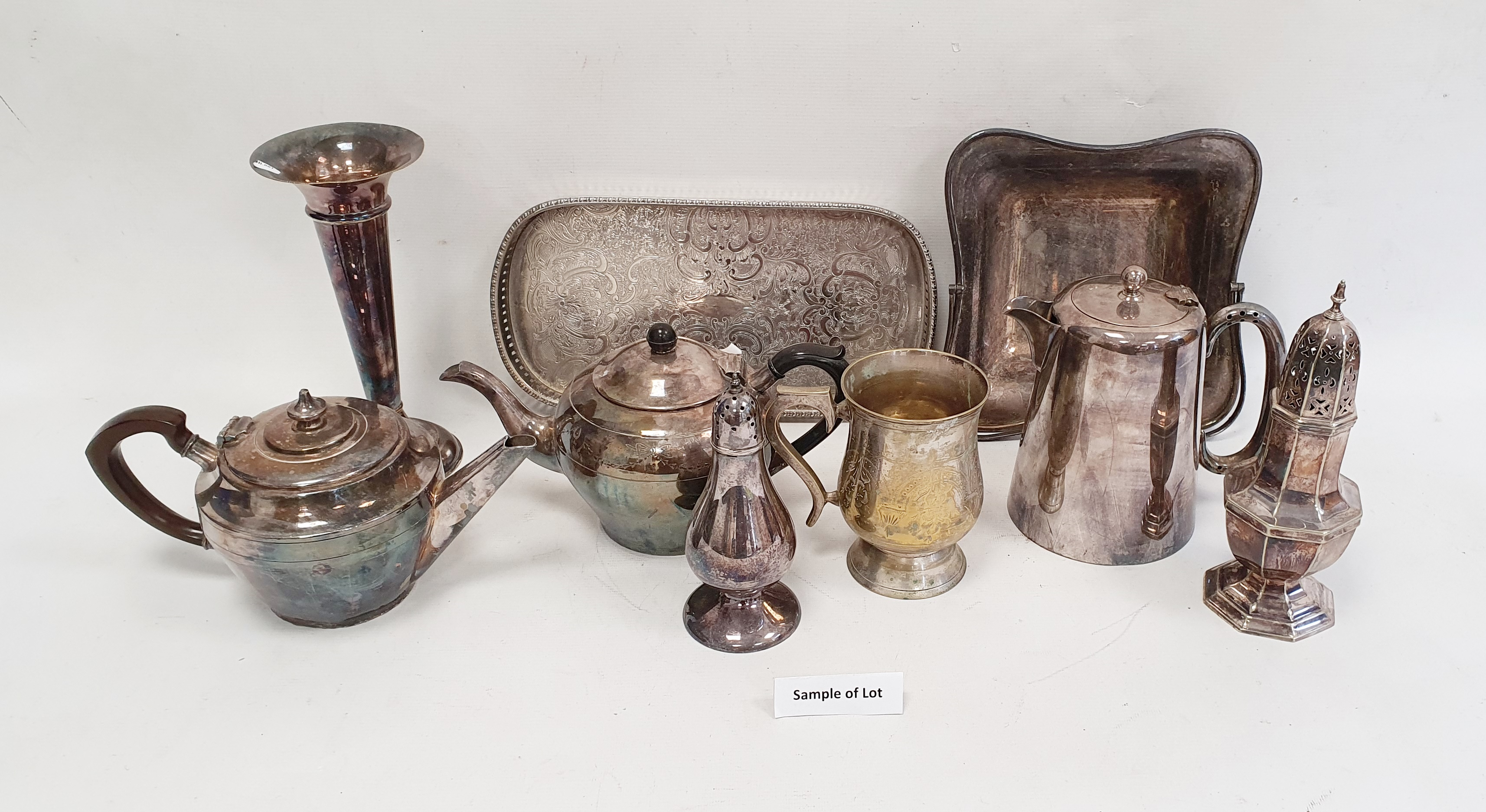 Large quantity of assorted plated ware, teapots, sifters, flatware, etc (2 boxes)