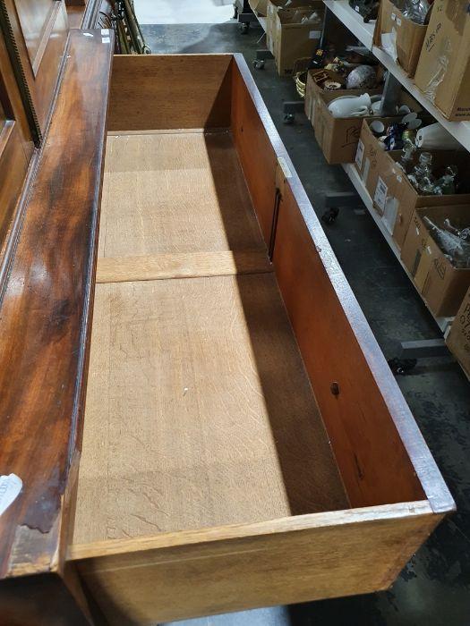 19th century mahogany linen press, two flame mahogany doors enclosing linen press drawers, base - Image 18 of 21