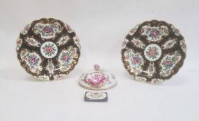 Pair of Worcester-style porcelain platesof shaped circular form, decorated with painted panels of