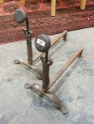 Pair of wrought iron andirons, 47cm high (2)