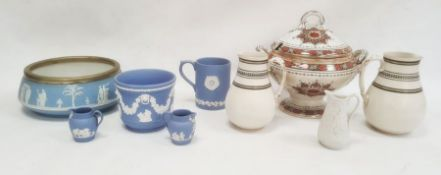 Victorian two-handled tureen and coverdecorated with borders of ivy leaves, a Wedgwood blue