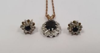 9ct gold sapphire and diamond flower shaped cluster pendanton a 10ct gold chain and a pair of