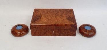 Modern burrwood box of rectangular form with fitted interior, 26cm long and a pair of matching tea