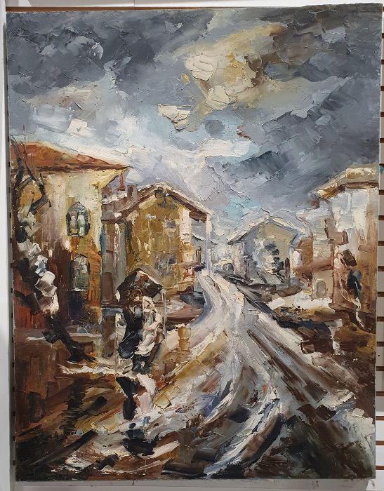 Meluta Sarbu (20th century school) Oil on canvas Street scene with figures under an umbrella, - Image 2 of 2