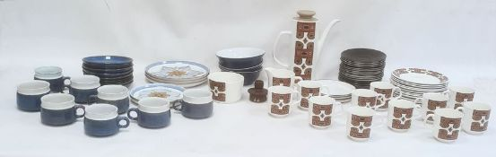 J&G Meakin studio pottery coffee setcomprising coffee pot, cups and saucers, plates and jug, all