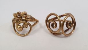 9ct gold ring with open wire and ball decoration, finger size M and another gold-coloured ring