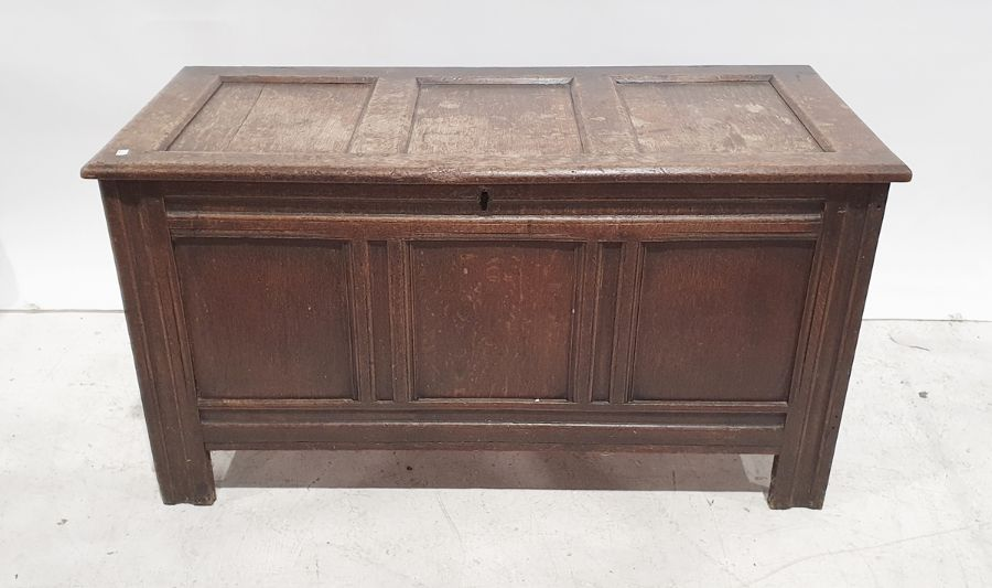 19th century oak cofferwith rectangular top, triple panelled front, channelled stile supports,