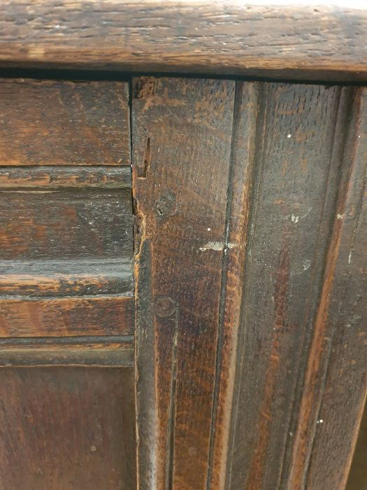 19th century oak cofferwith rectangular top, triple panelled front, channelled stile supports, - Image 4 of 6