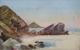British School - late 19th/early 20th century Oil on canvas Coastal view, 22 x 34cm