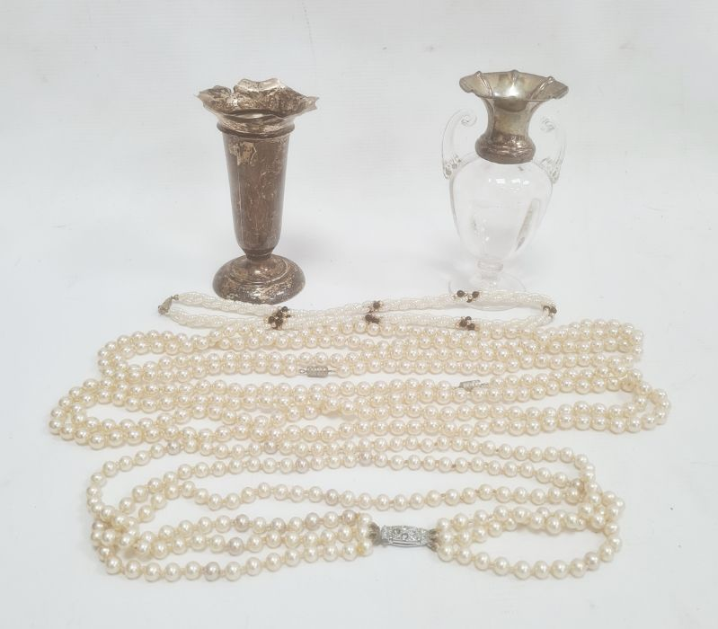 Early 20th century glass and silver-mounted two-handled miniature vasewith flared silver rim,