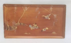 Lacquer traywith gilt decoration of birds and foliage, 34cm x 59cm