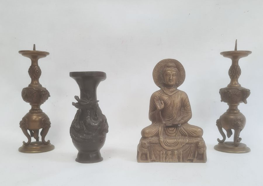 Japanese bronzed vase, dragon relief, 16cm high, a bronzed seated Buddhaand a pair of