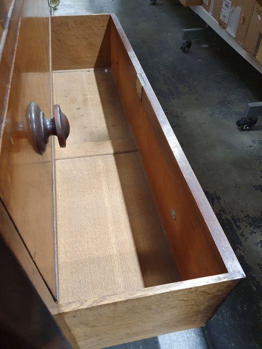 19th century mahogany linen press, two flame mahogany doors enclosing linen press drawers, base - Image 20 of 21