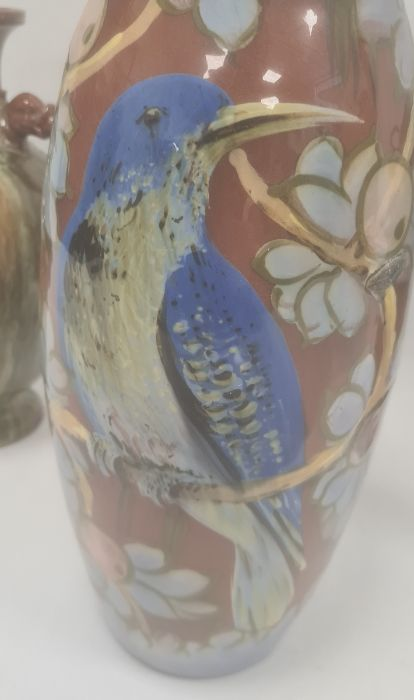 Torquay pottery vasedecorated with a bird perched on fruiting branches, 32cm high (large chip to - Image 2 of 13