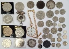 A silver sovereign case, six pence's, two shillings, a gilt colouredpocket watchand other silver