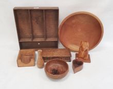 A carved wooden king fisher by Faust Lang, a turned wooden bowl, a wooden box,etc