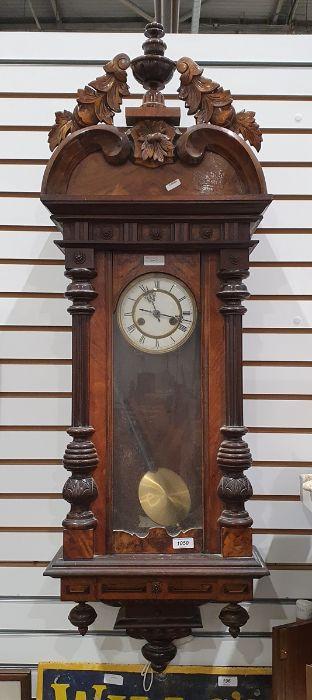 Walnut Vienna regulator Roman numerals to the enamel dial, 115cm tall