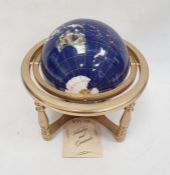 220mm gemstone globein rotating cradle, with four sculptured legs and central compass
