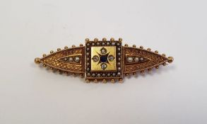 LOT WITHDRAWN Victorian 15ct gold mourning broochset with four small diamonds, single sapphire