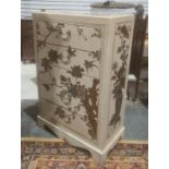 20th century Chinese-style chestof five drawers, cream-ground decorated, with birds amongst foliage